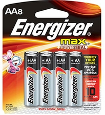 Energizer Max E91-FP-8 AA 1.5V Alkaline Button Top Batteries - 8 Piece Family Pack