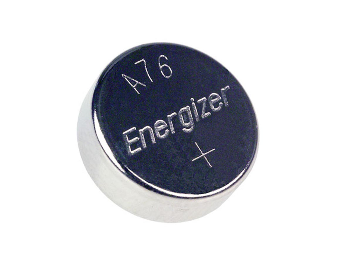 Energizer A76 coin cell front view