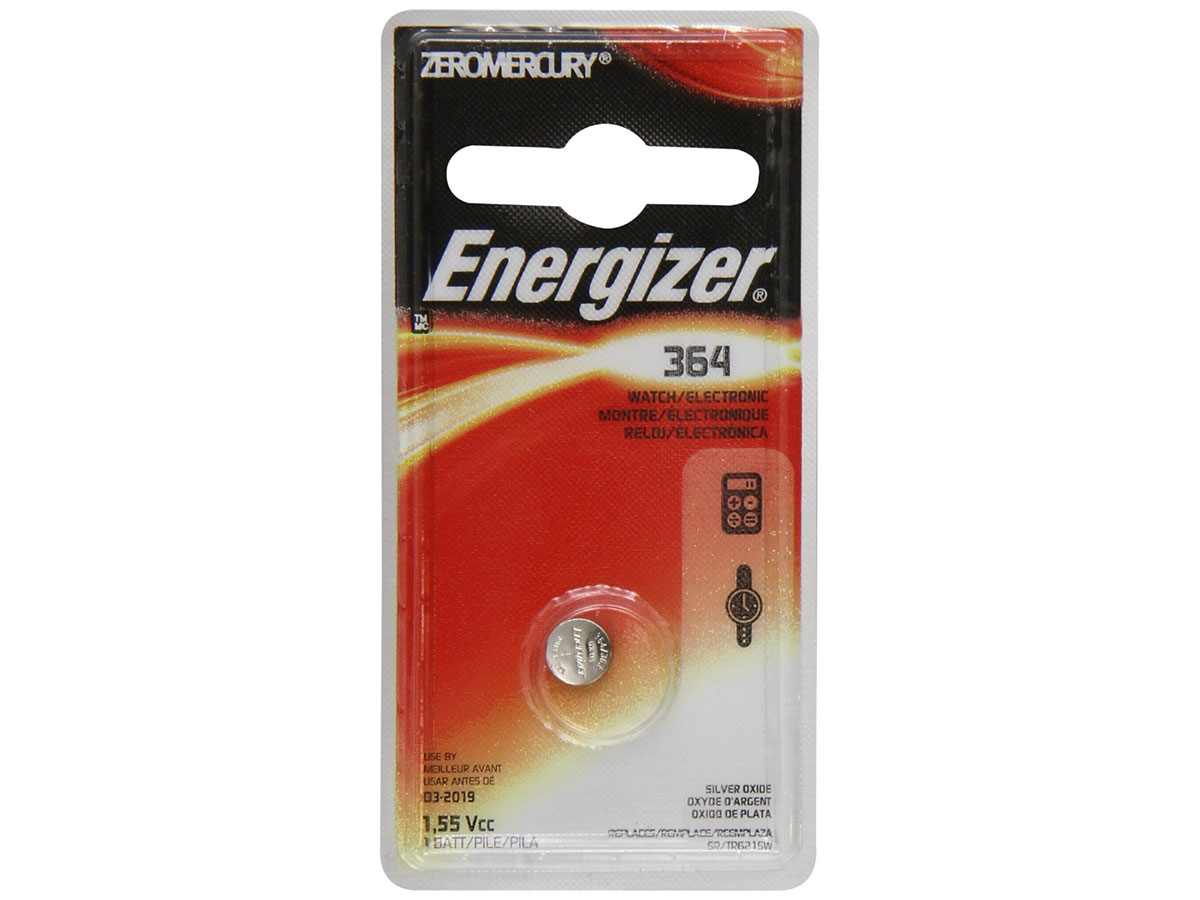 Energizer 364 coin cell in 1 piece blister packaging