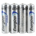 Energizer Ultimate L91 (4SHK) AA 3000mAh 1.5V High Energy 5A Lithium (LiFeS2) Button Top Batteries - 4 Pack Shrink Wrap (100 Shrinks per Case)