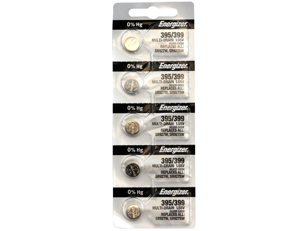 Set of 5 Energizer 395/399 coin cells in tear strip packaging
