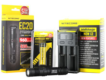 Nitecore EC20 Tactical Flashlight Combo - CREE XM-L2 T6 LED - 960 Lumens - With Battery and Charger
