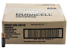 Duracell Coppertop Duralock MN2400 (144PK) AAA Alkaline Button Top Batteries - Made in the USA - Box of 144