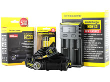 Nitecore HC30 LED Headlamp Combo - CREE XM-L2 U2 LED (Cool or Neutral White) - 1000 Lumens - With Battery and Charger