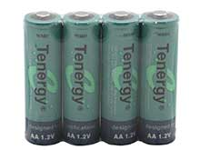 Tenergy 10308 AA (4PK) 2600mAh 1.2V Nickel Metal Hydride (NiMH) Button Top Batteries - Pack of 4