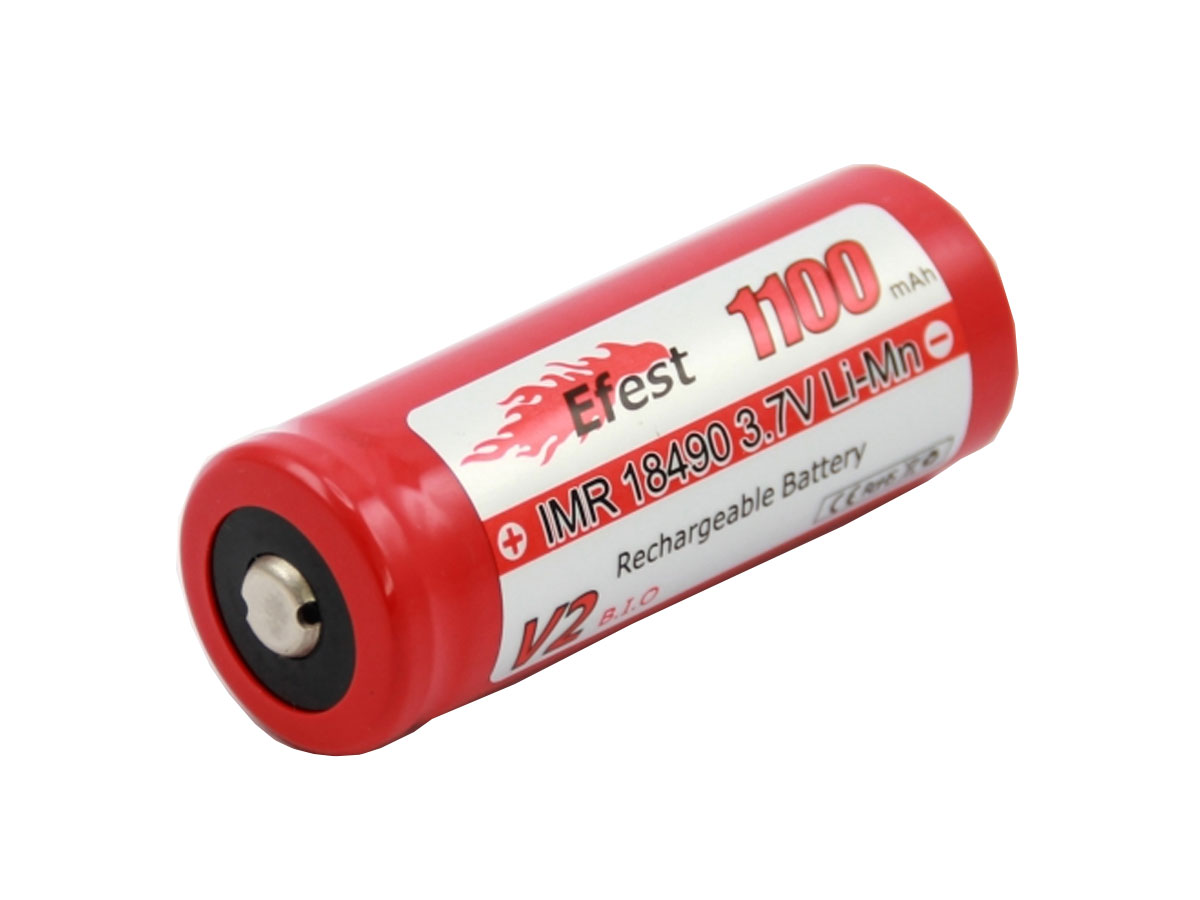 Efest 3457 18490 unprotected button top battery side angle