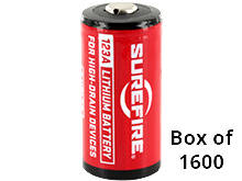 SureFire SF123A (1600PK) CR123A 1550mAh 3V Lithium Primary (LiMNO2) Button Top Batteries - Case of 1600
