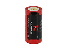 Klarus UR70 16340 700mAh 3.7V Protected Lithium Ion (Li-Ion) Button Top Battery with Micro USB Charging Port - Plastic Case