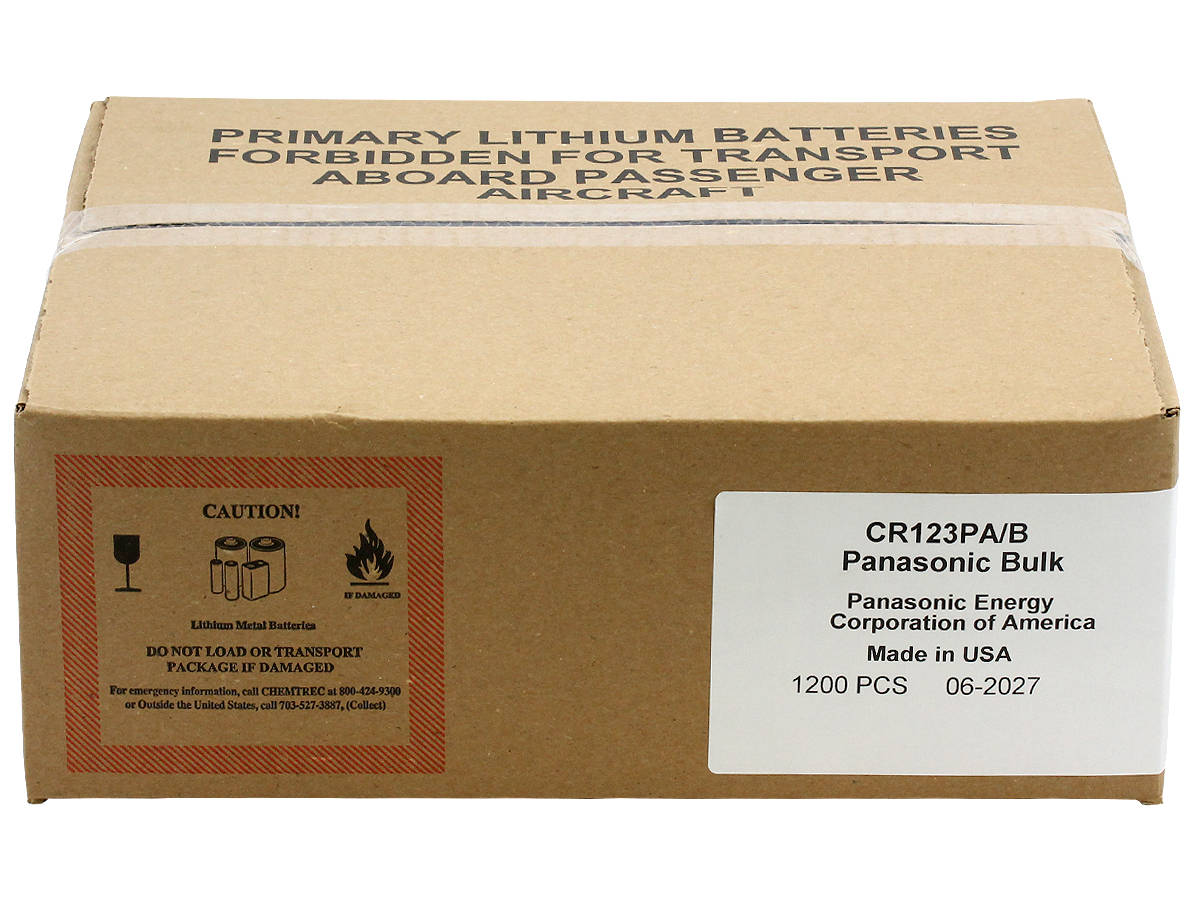 Panasnoic CR123A batteries in shipping container