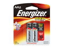 Energizer Max E91-BP-2 AA 1.5V Alkaline Button Top Batteries - 2 Piece Retail Card