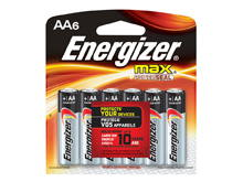 Energizer Max E91-BP-6 AA 1.5V Alkaline Button Top Batteries - 6 Piece Retail Card