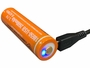 18650 battery that comes with InfiniStar 700 flashlight fully charged with LED glowing blue