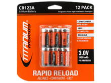 Titanium Innovations CR123A (12PK) 1400mAh 3V 3A Lithium Primary (LiMN02) Button Top Photo Batteries, Shrink Wrapped Double (6V) - 12-Pack Retail Card