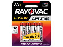 Rayovac Fusion 815-4T AA 1.5V Alkaline Button Top Batteries - 4 Piece Retail Card