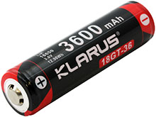Klarus 18GT 18650 3600mAh 3.6V Protected Lithium Ion (Li-ion) Button Top Battery for XT11 - Plastic Box