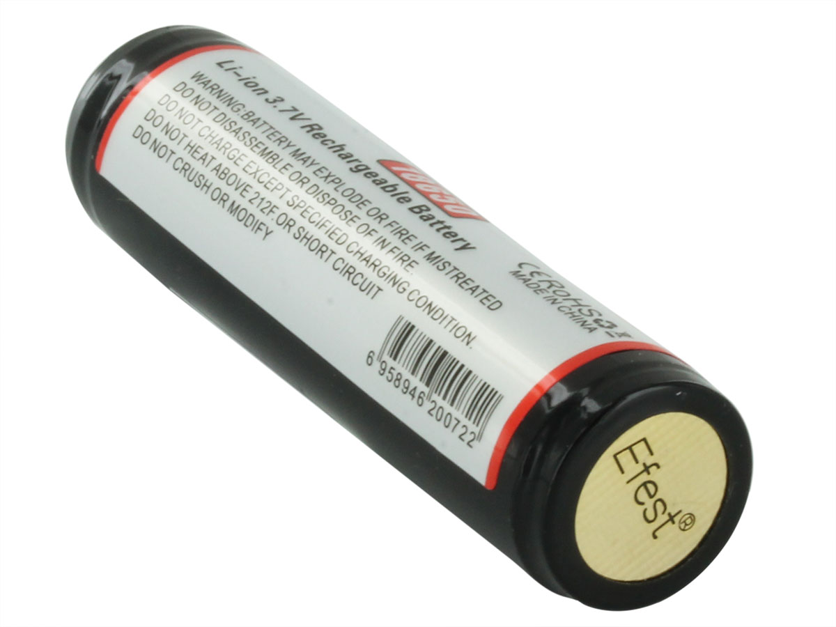 Efest 3259 18650 button top battery back side angle