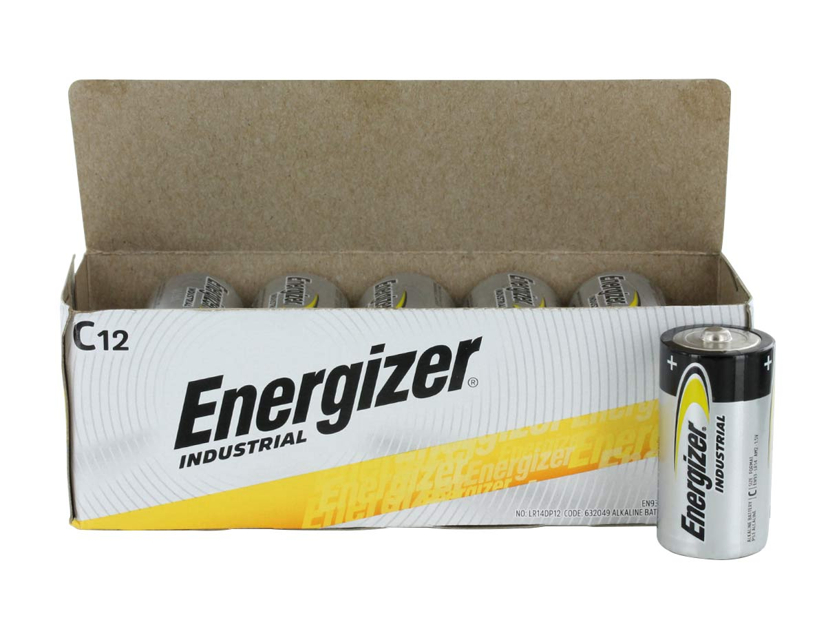 energizer industrial en93 c cell 12 pack box with individual cell outside of box