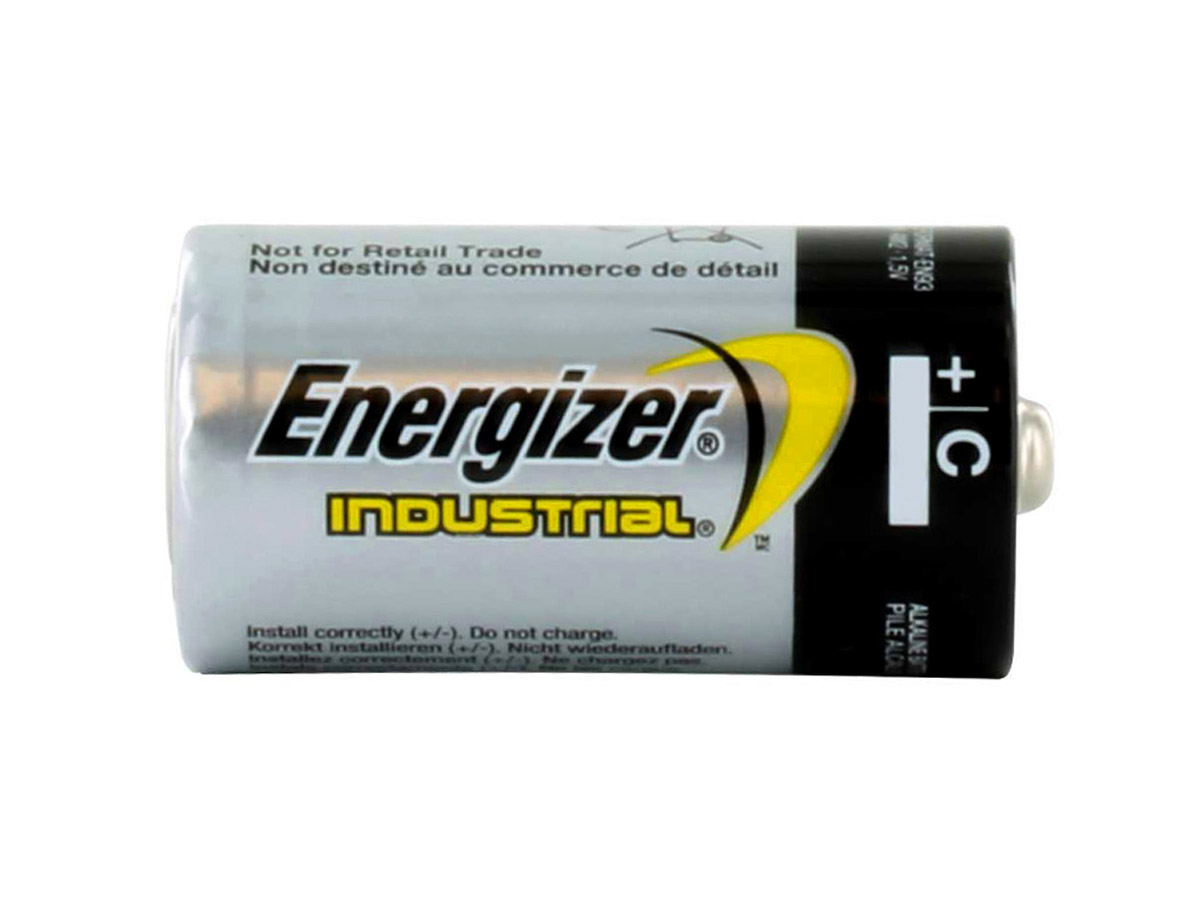 energizer industrial en93 c cell sitting horizontally without packaging