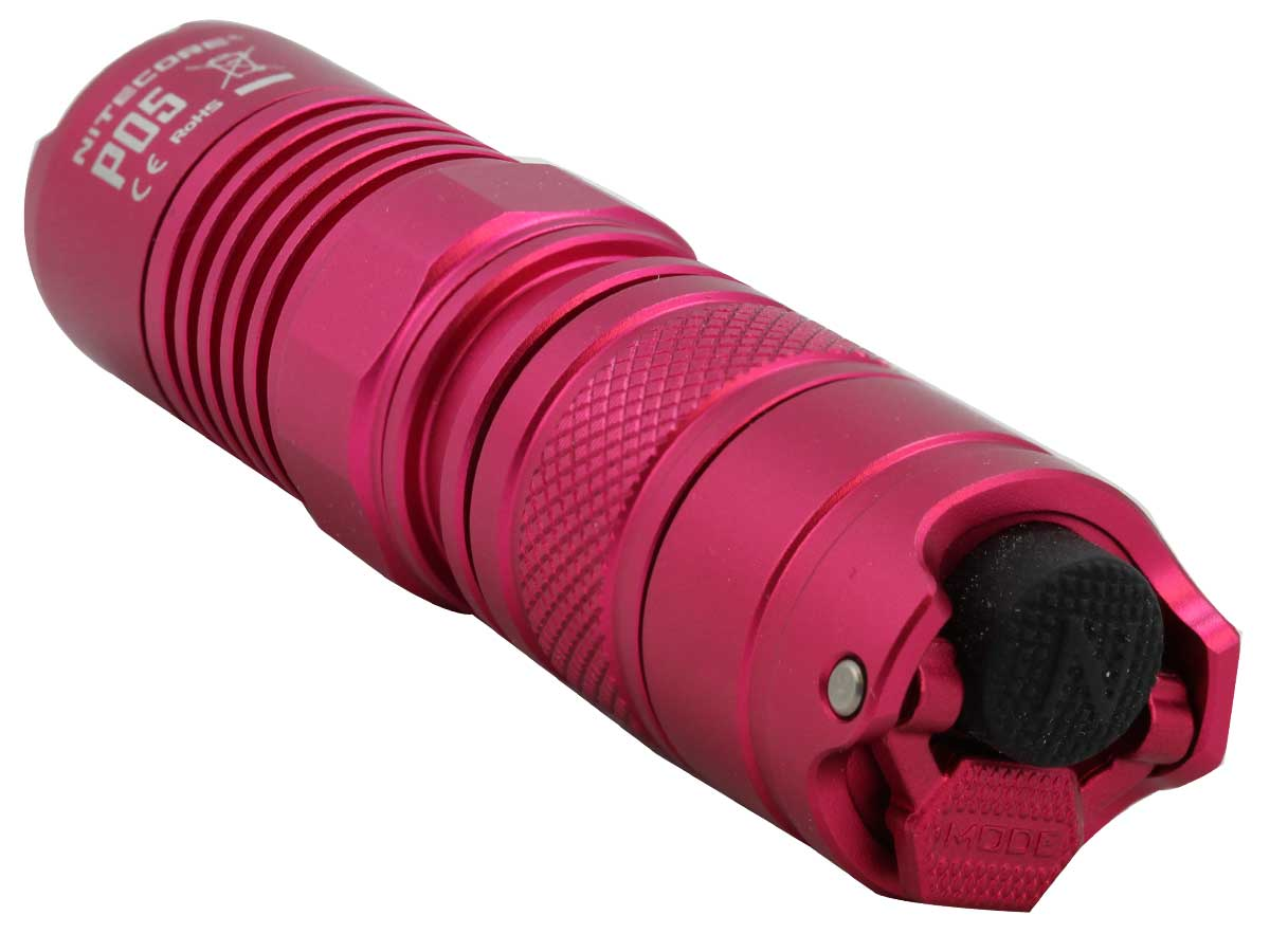 Nitecore P05 flashlight in pink with close up of tailcap