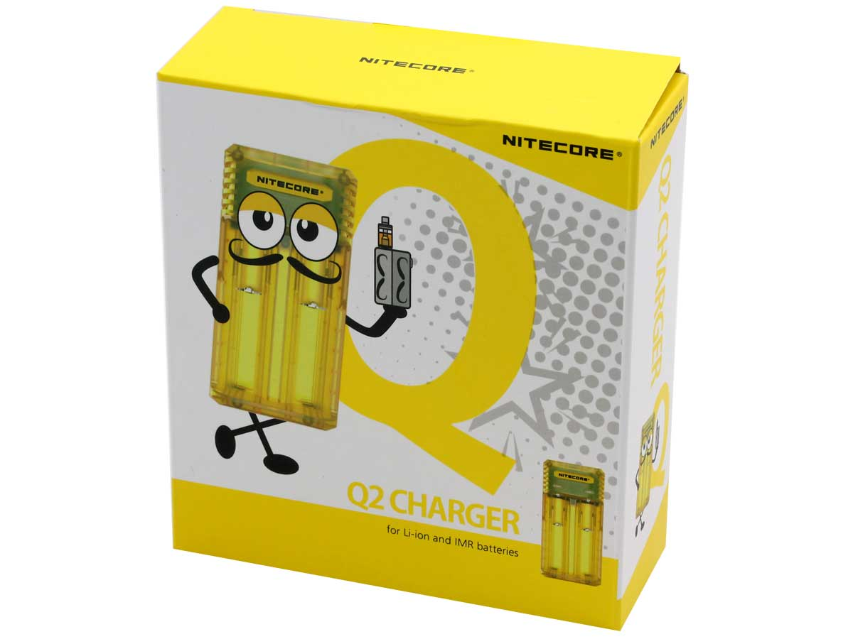 Retail boxed packaging for the yellow Nitecore Q2 Quick charger