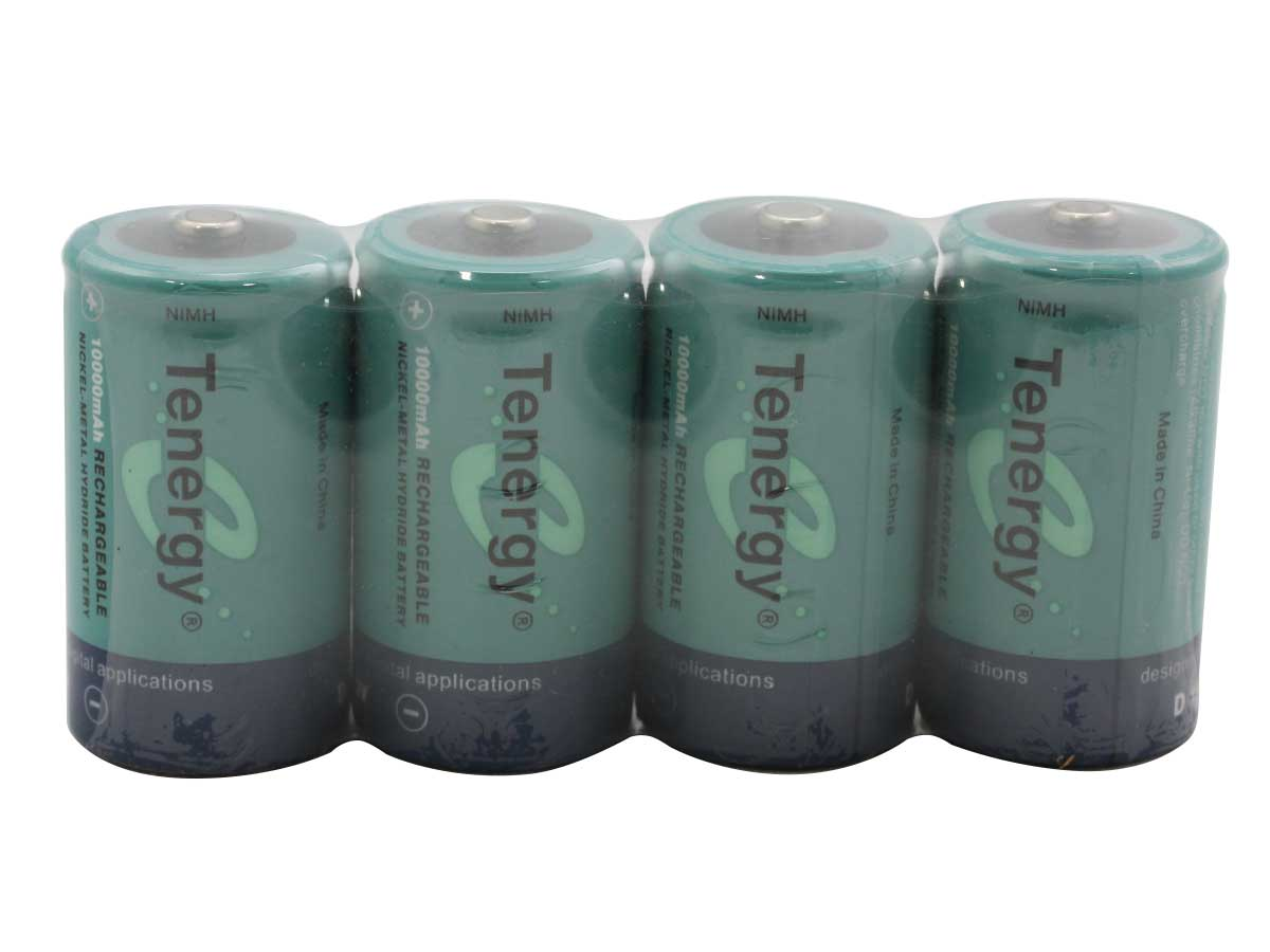 4 Tenergy 10100 D batteries wrapped in cellophane