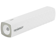 Tenergy Lite3000 5V 3000mAh Mobile Power Bank Charger with LED Flashlight, USB Cable - White
