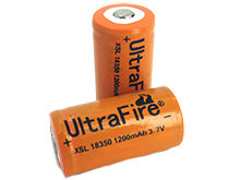 UltraFire XSL 18350 1200mAh 3.7V Unprotected Lithium Ion (Li-ion) Button Top Battery - Bulk