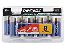 Rayovac High Energy 813-8LK D 1.5V Alkaline Battery - 8 Count Blister Pack