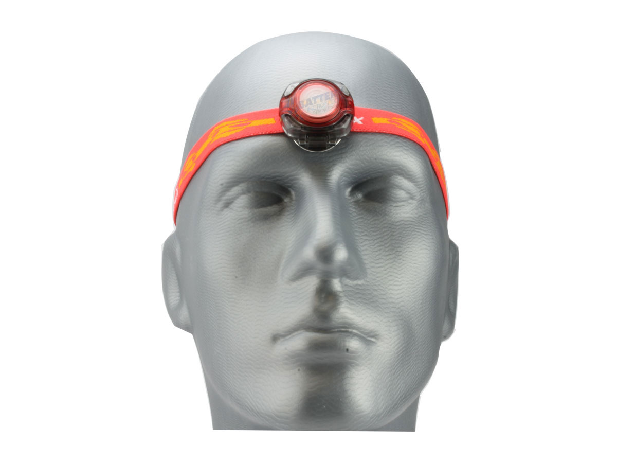 Fenix HL05 headlamp in red on head front view