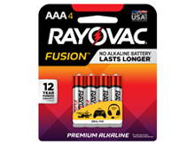 Rayovac Fusion 824-4T AAA 1.5V Alkaline Button Top Batteries - 4 Piece Retail Card