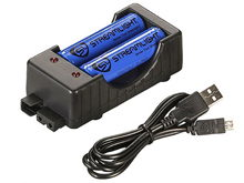 Streamlight 2-Bay Li-ion Battery Charger Kit with 2 x 18650s with USB Cable (22010) or AC Wall Cable (22011)