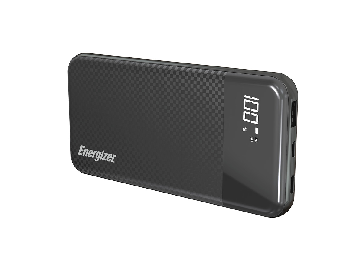 energizer ue10037pq power bank black standing at an angle
