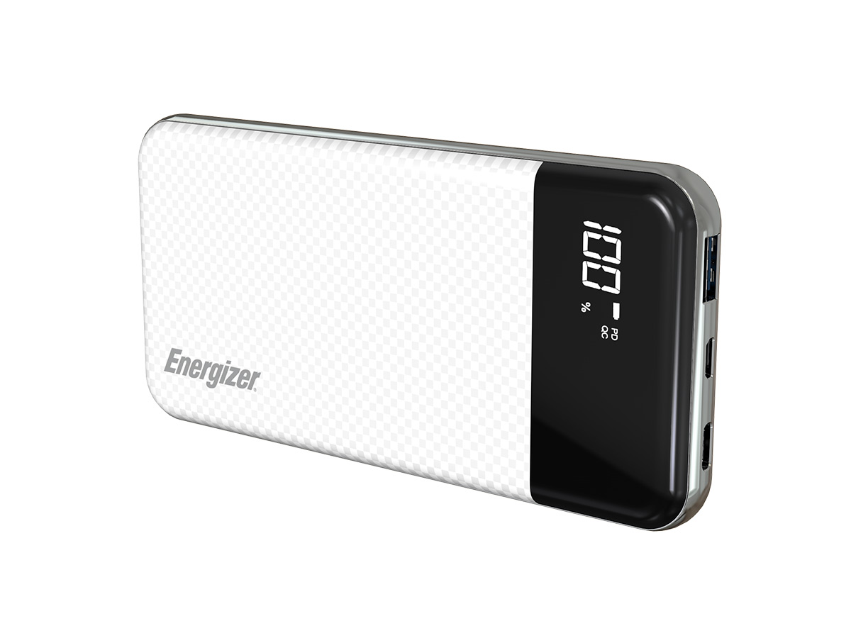 energizer ue10037pq power bank white standing at an angle