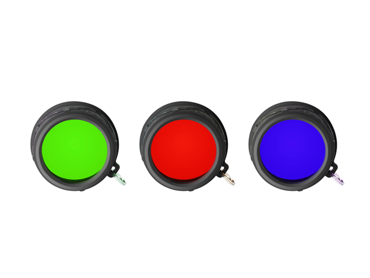 top view of Klarus FT11X red, green, and blue filters