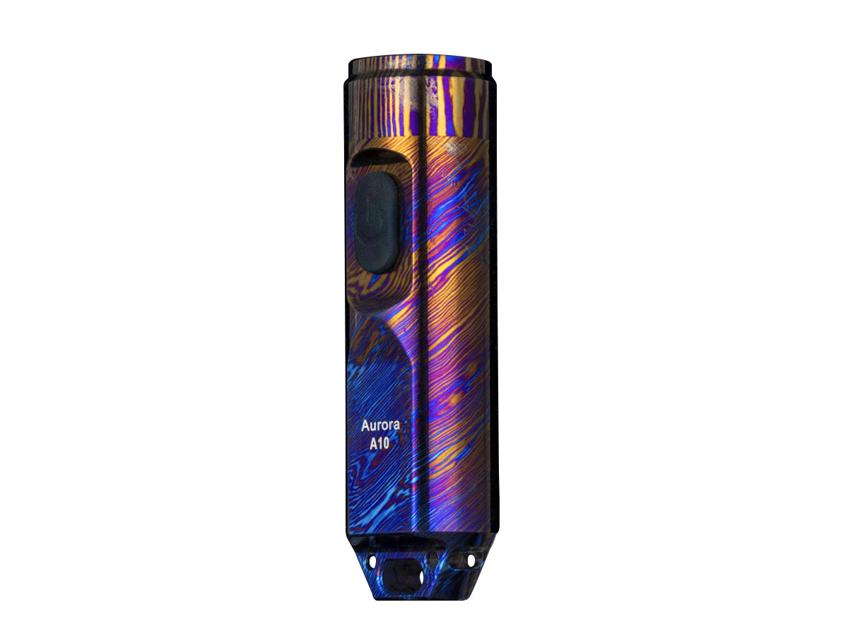 rovyvon a10 timascus limited edition flashlight, standing vertically at angle