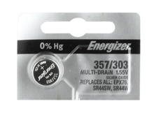 Energizer 357/303 150mAh 1.55V Silver Oxide Coin Cell Battery (D303, D357, D303/357, GS13, 228, 357, 280-62, 76A) - 1 Piece Tear Strip, Sold Individually