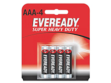 Energizer Eveready Super Heavy Duty 1212-SW-4 AAA 540mAh 1.5V Zinc Carbon Button Top Batteries - 4 Piece Retail Card
