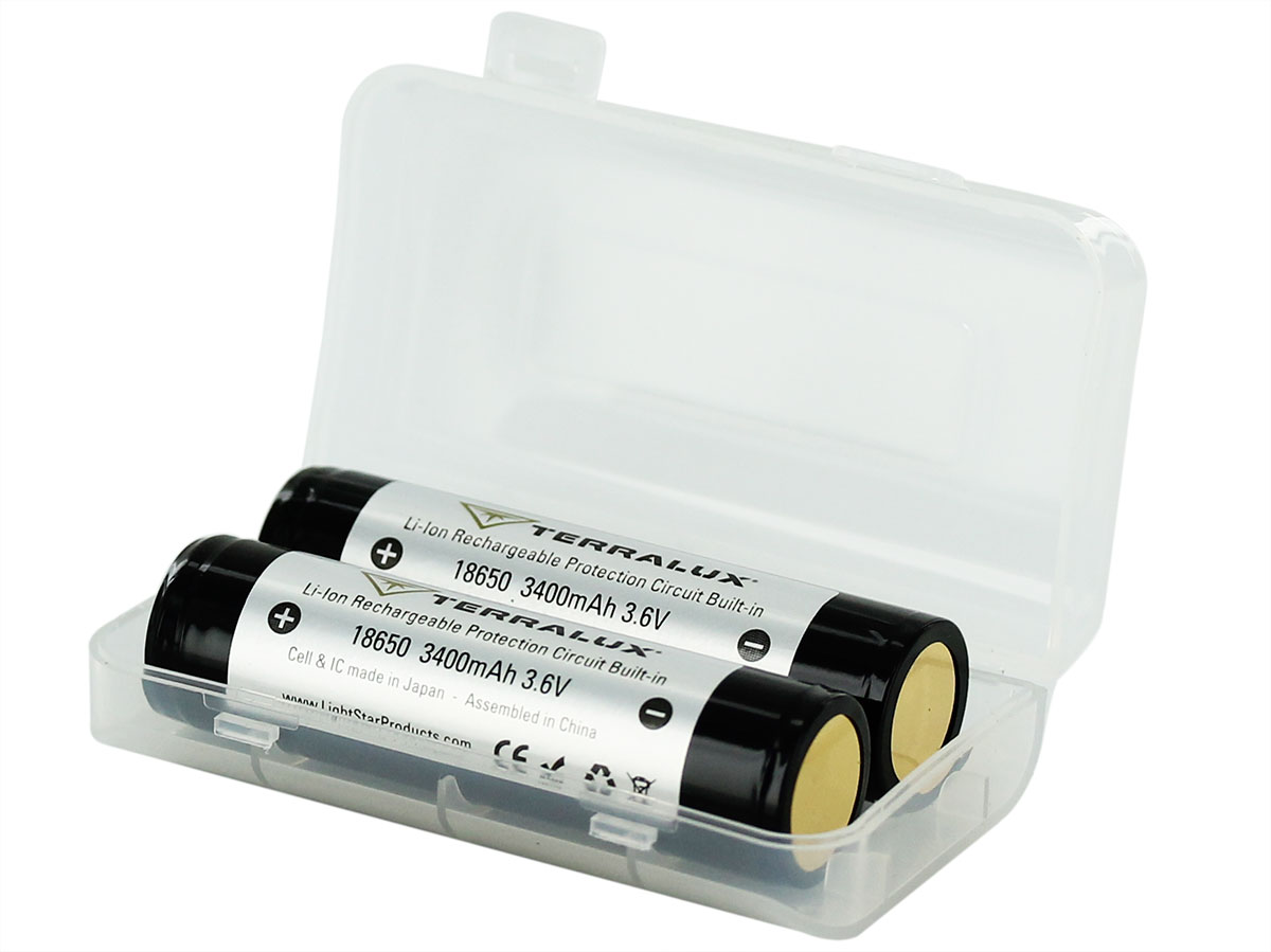 2 pack Terralux 18650 batteries in case with lid open