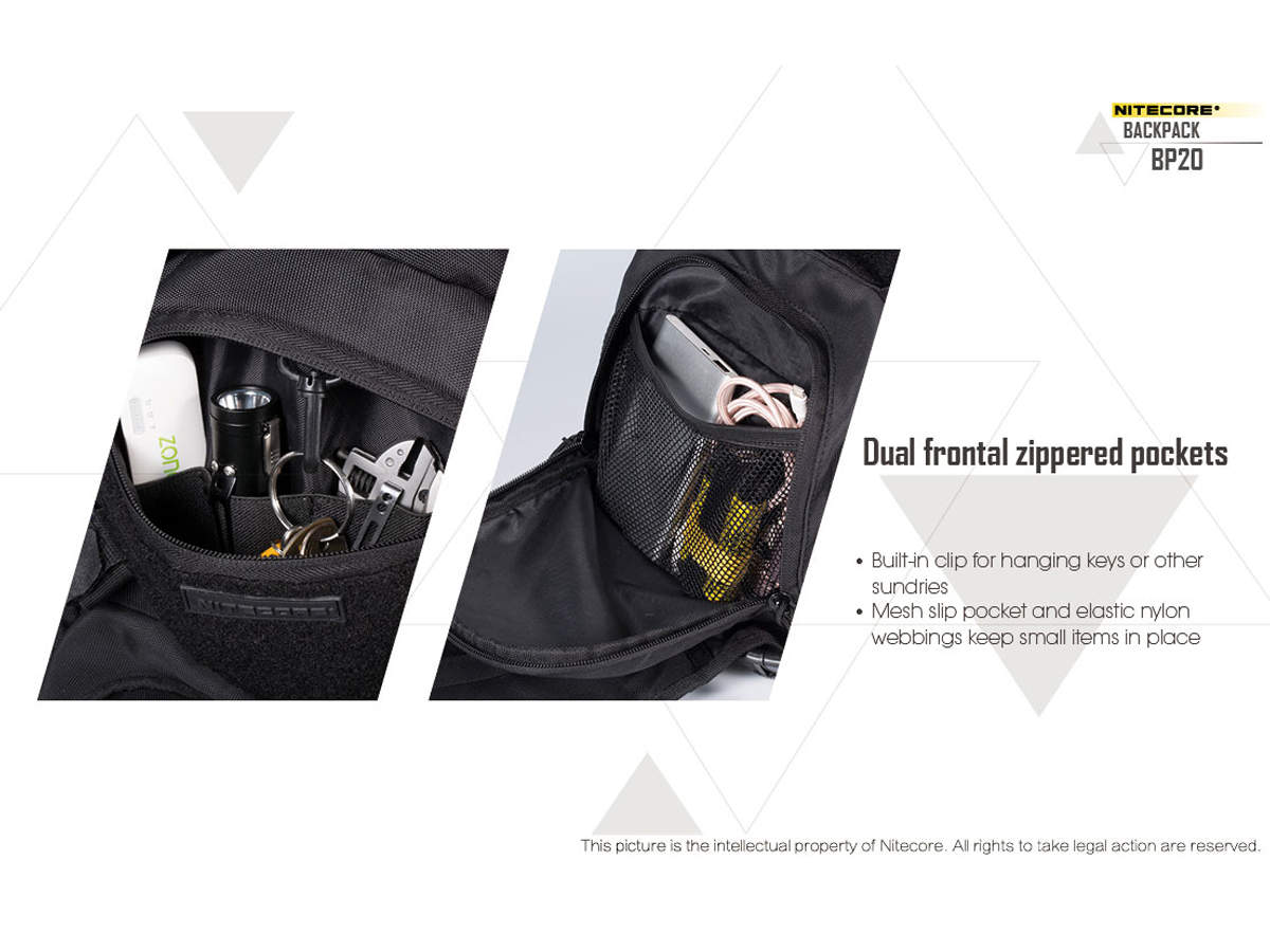 Slide about the front pockets of the Nitecore BP20