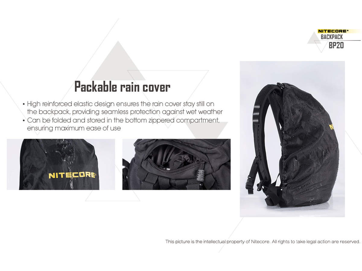 Slide about the rain cover for the Nitecore BP20