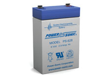 Power-Sonic PS-628 2.9AH 6V Rechargeable Sealed Lead Acid (SLA) Battery - F1 Terminal