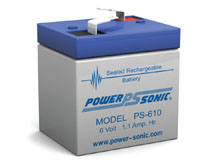 Power-Sonic PS-610 1.1AH 6V Rechargeable Sealed Lead Acid (SLA) Battery - F1 Terminal