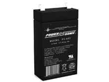 Power-Sonic PS-632 3.5AH 6V Rechargeable Sealed Lead Acid (SLA) Battery - F1 Terminal