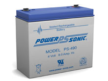 Power-Sonic PS-490 9AH 4V Rechargeable Sealed Lead Acid (SLA) Battery - F2 Terminal