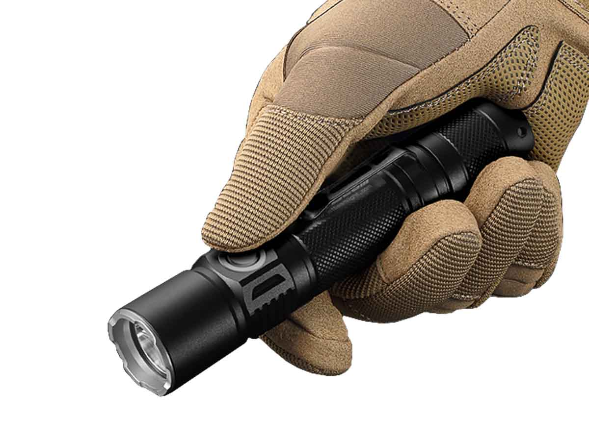 Jetbeam PC20 flashlight in a gloved hand