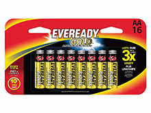 Energizer Eveready Gold A91-BP-16 AA  1.5V Alkaline Button Top Batteries - 16 Piece Retail Card