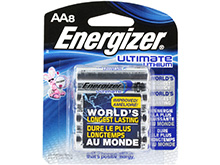 Energizer Ultimate L91-BP-8 AA 3000mAh 1.5V High Energy 5A Lithium (LiFeS2) Button Top Batteries - 8 Pack Retail Card
