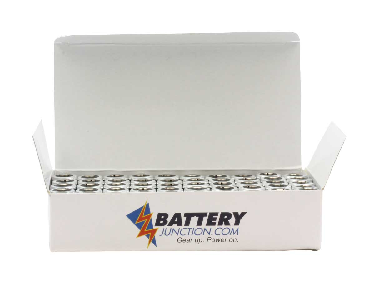 Close up with lid open of box for Energizer CR123A batteries