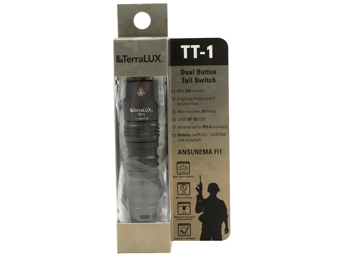 Package Shot of the TT-1 LED Tactical Flashlight