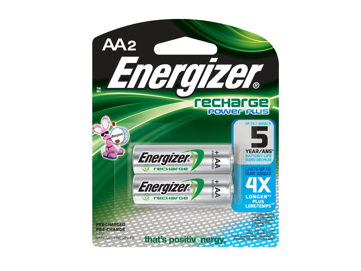 Energizer Recharge AA atteries in 2 piece retail card